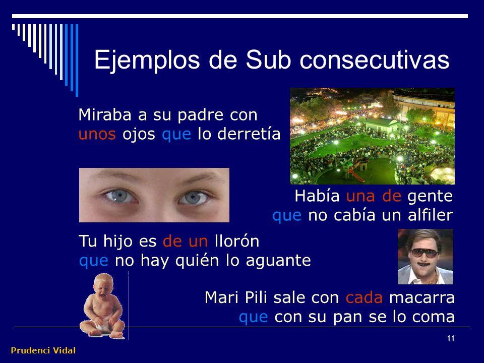 Prudenci Vidal 10 Ejemplos de Sub consecutivas La vigilancia es tal que la fuga resulta imposible Hay tal vigilancia que la fuga resulta imposible De