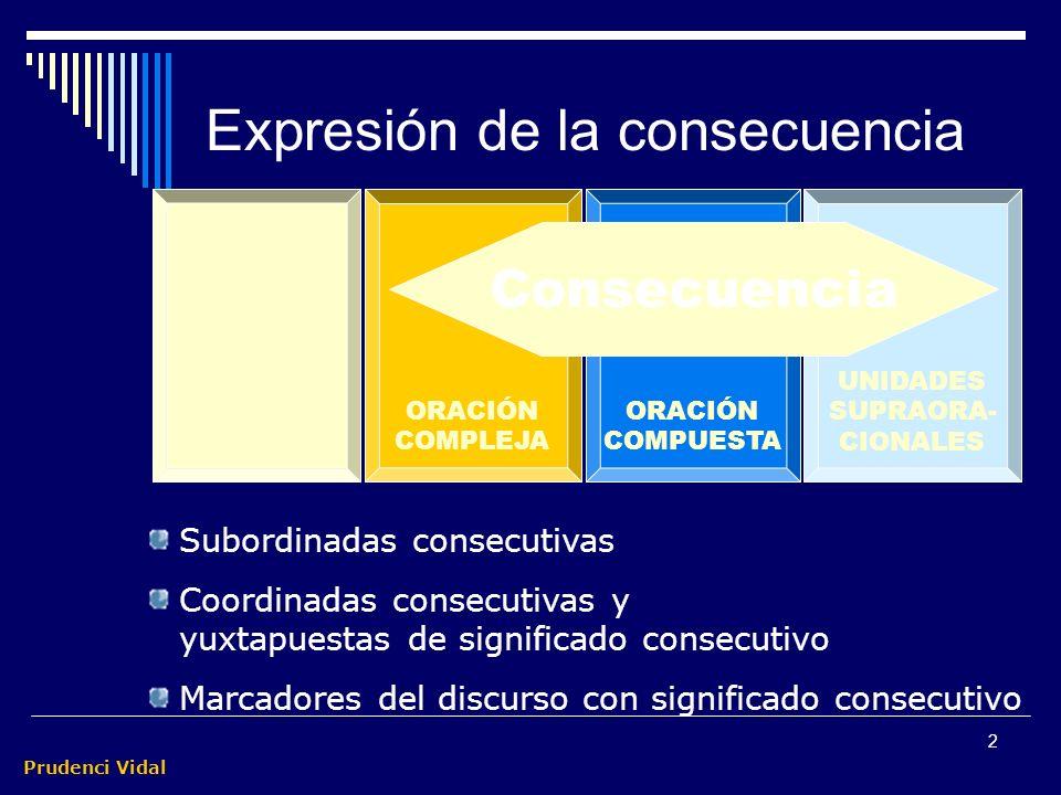 Prudenci Vidal 1 Construcciones consecutivas El significado consecutivo se puede expresar en la O compleja, en la O compuesta e, incluso, en estructur