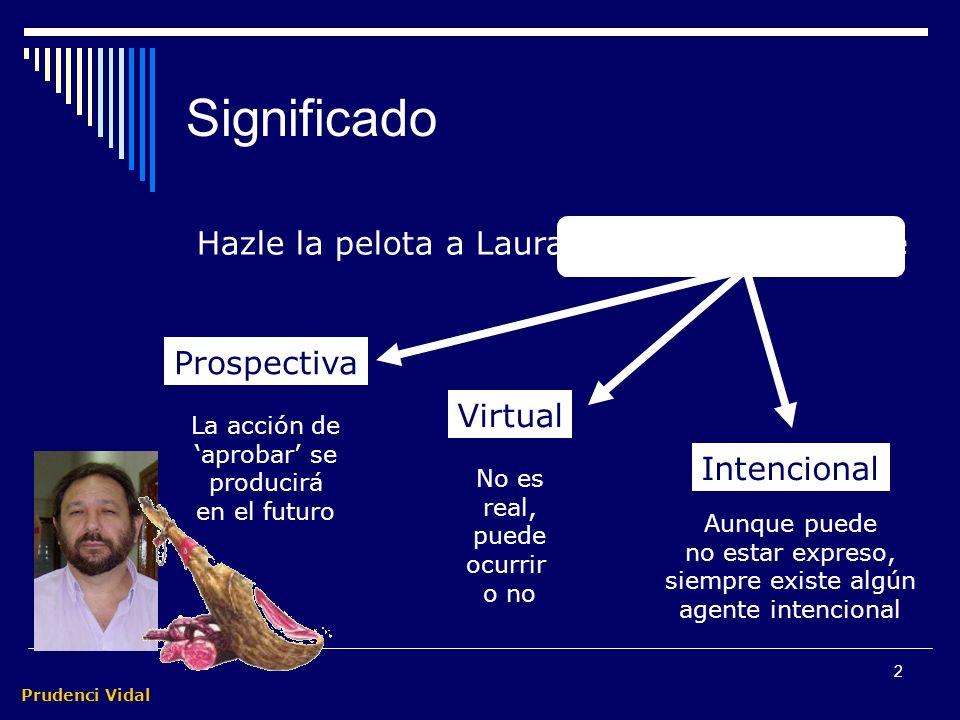 Prudenci Vidal 2 Significado Hazle la pelota a Laura para que te apruebe Prospectiva La acción de aprobar se producirá en el futuro Virtual No es real, puede ocurrir o no Intencional Aunque puede no estar expreso, siempre existe algún agente intencional