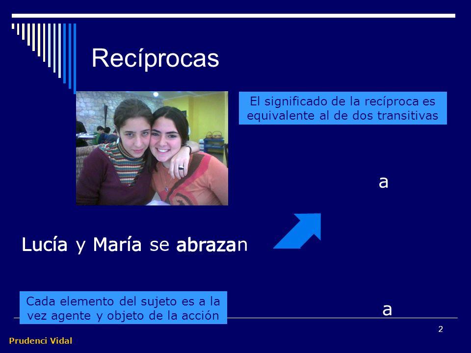 Prudenci Vidal 2 Recíprocas Cada elemento del sujeto es a la vez agente y objeto de la acción a a El significado de la recíproca es equivalente al de dos transitivas Lucía y María se abrazan Lucía María abraza Lucía María
