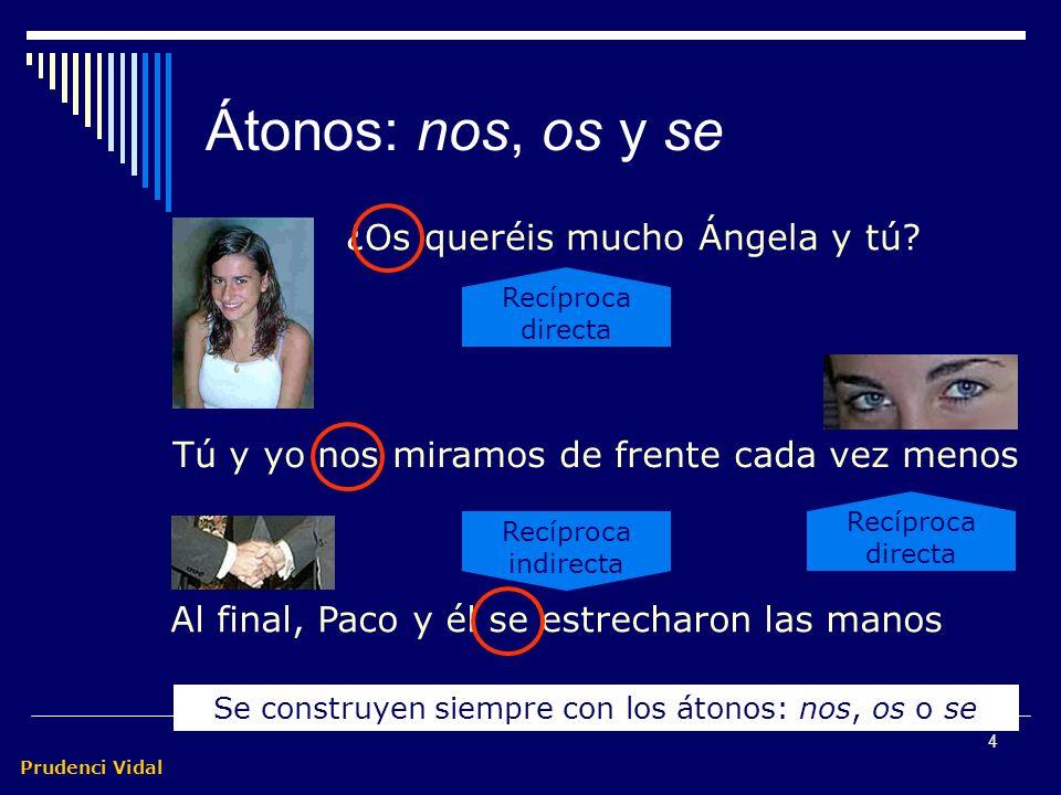 Prudenci Vidal 4 Átonos: nos, os y se Tú y yo nos miramos de frente cada vez menos Al final, Paco y él se estrecharon las manos ¿Os queréis mucho Ángela y tú.