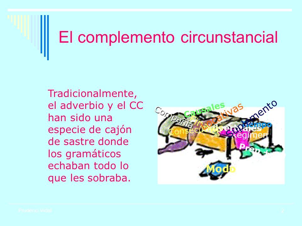 2 Prudenci Vidal El complemento circunstancial Adverbiales C a u s a l e s F i n a l e s C o n s e c u t i v a s Tiempo Modo Locativas P r e p + S N Compañía Régimen Suplemento Tradicionalmente, el adverbio y el CC han sido una especie de cajón de sastre donde los gramáticos echaban todo lo que les sobraba.