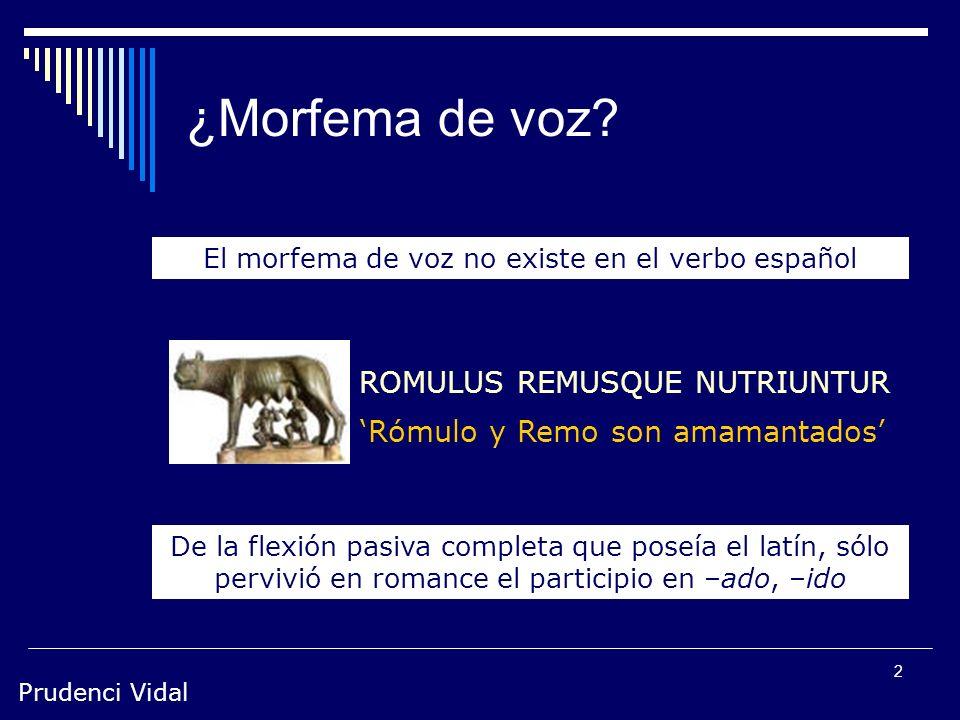 Prudenci Vidal 1 Pasiva Estructura sintáctica en la que el sujeto gramatical no es agente sino paciente de la acción expresada por el verbo. Existen d