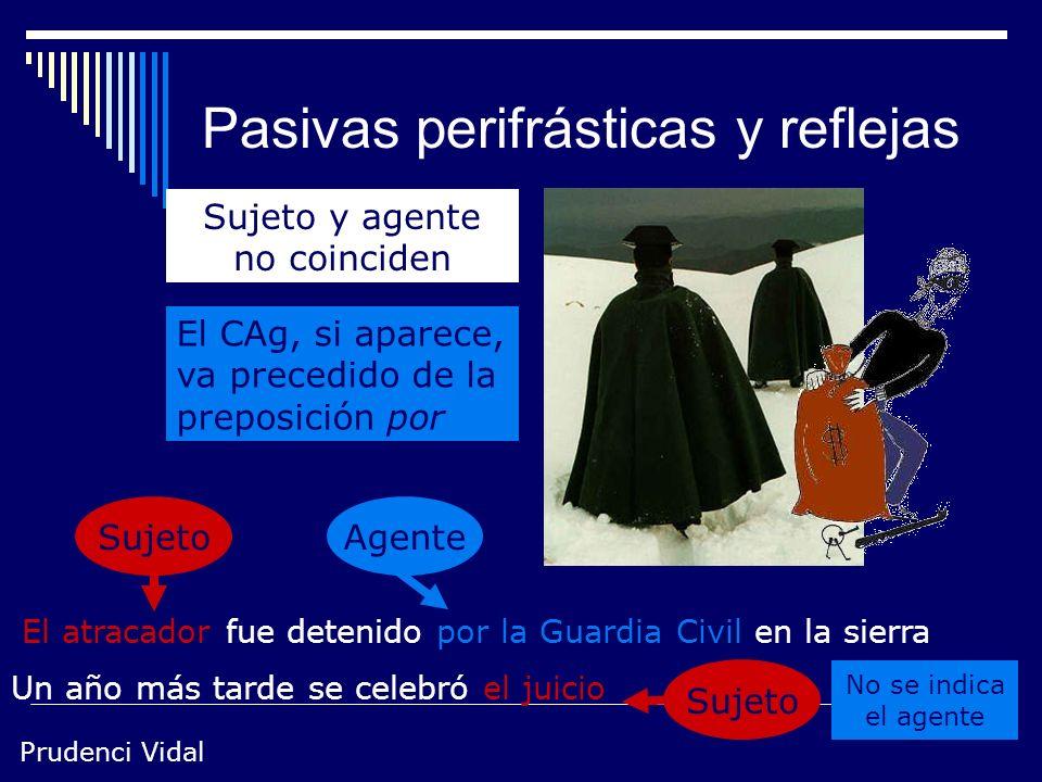 Prudenci Vidal 3 Perifrásticas / reflejas La formulación pasiva en español puede adoptar dos estructuras perífrasis de ser + participio concertado ref