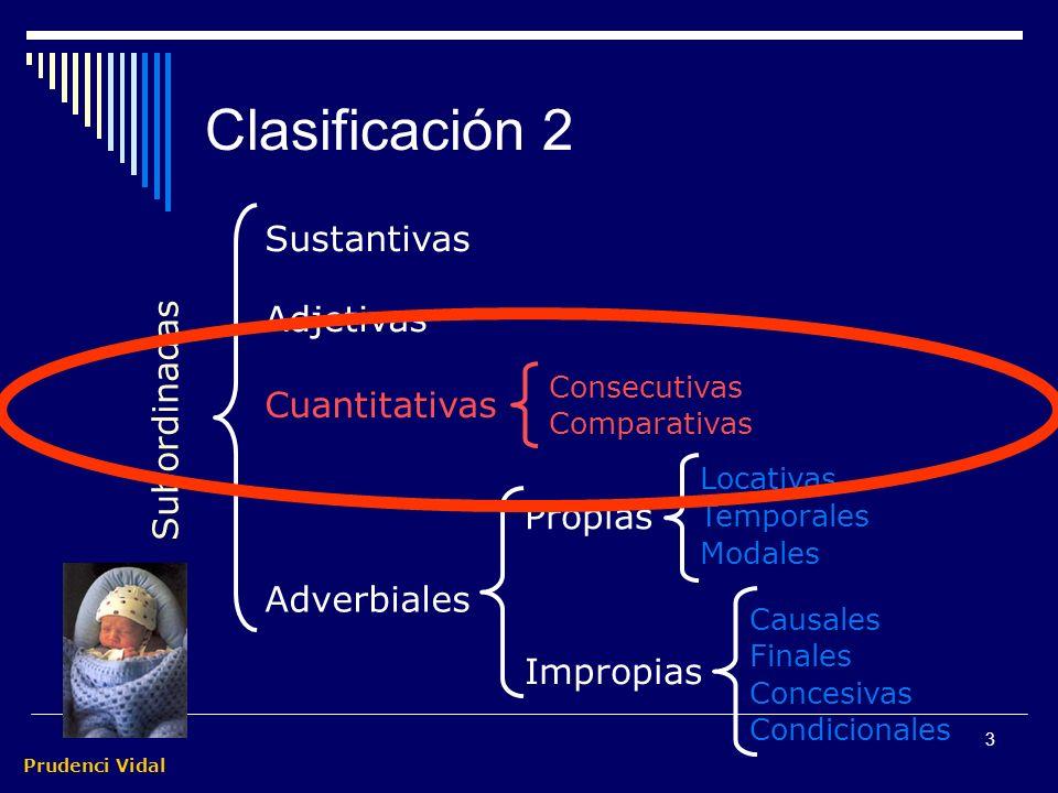 Prudenci Vidal 3 Clasificación 2 Sustantivas Adjetivas Adverbiales Subordinadas Propias Impropias Locativas Temporales Modales Causales Finales Concesivas Condicionales Consecutivas Comparativas Cuantitativas