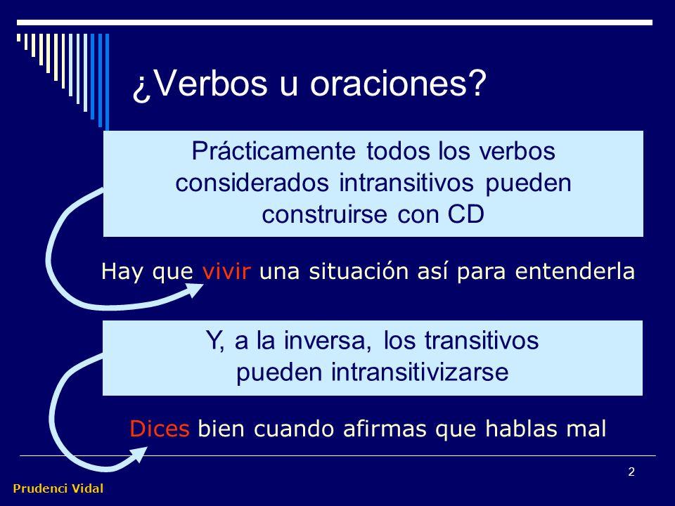 Prudenci Vidal 1 Transitivas e intransitivas Son transitivas las oraciones predicativas que, para completar el significado del verbo, llevan en su SP