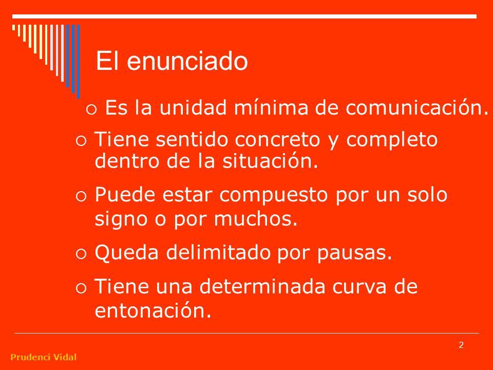 Prudenci Vidal 2 El enunciado Es la unidad mínima de comunicación.