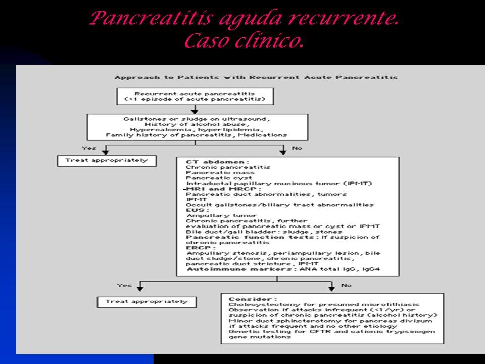Pancreatitis aguda recurrente. Caso clínico. -