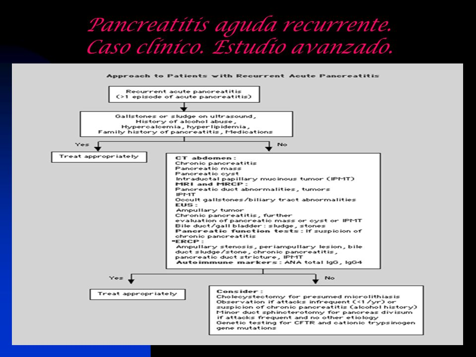 Pancreatitis aguda recurrente. Caso clínico. Estudio avanzado. -
