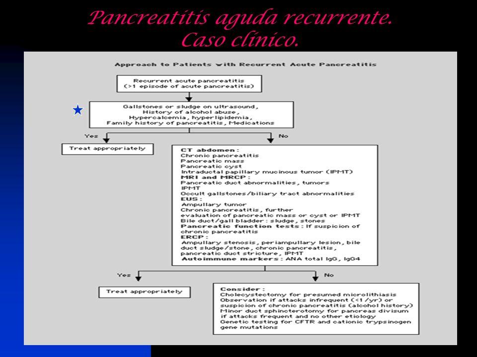 Pancreatitis aguda recurrente. Caso clínico.