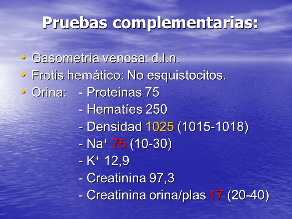 Pruebas complementarias: Gasometría venosa: d.l.n.
