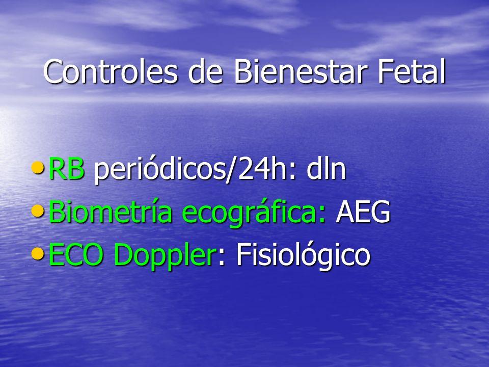 Controles de Bienestar Fetal RB periódicos/24h: dln RB periódicos/24h: dln Biometría ecográfica: AEG Biometría ecográfica: AEG ECO Doppler: Fisiológico ECO Doppler: Fisiológico
