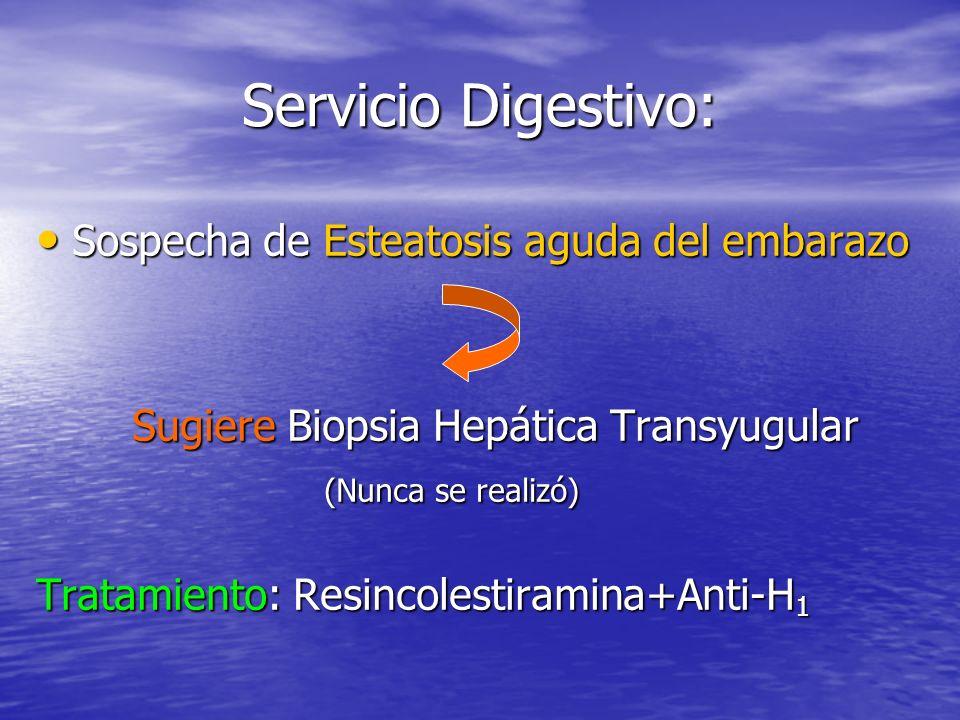 Servicio Digestivo: Sospecha de Esteatosis aguda del embarazo Sospecha de Esteatosis aguda del embarazo Sugiere Biopsia Hepática Transyugular (Nunca se realizó) Tratamiento: Resincolestiramina+Anti-H 1