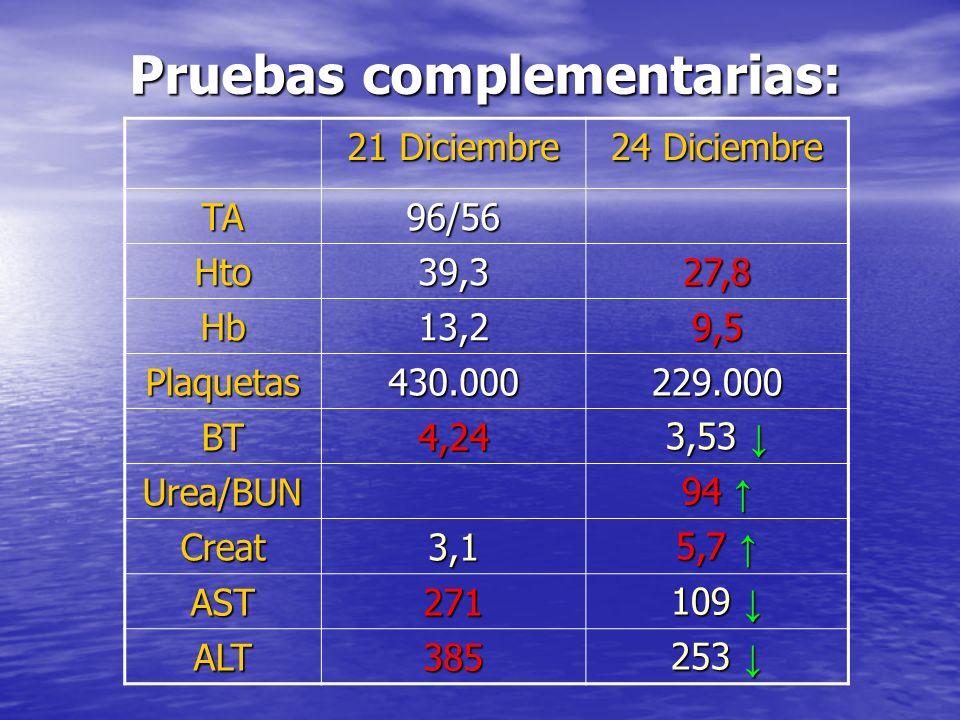Pruebas complementarias: Pruebas complementarias: 21 Diciembre 24 Diciembre TA96/56 Hto39,327,8 Hb13,29,5 Plaquetas430.000229.000 BT4,24 3,53 3,53 Urea/BUN 94 94 Creat3,1 5,7 5,7 AST271 109 109 ALT385 253 253