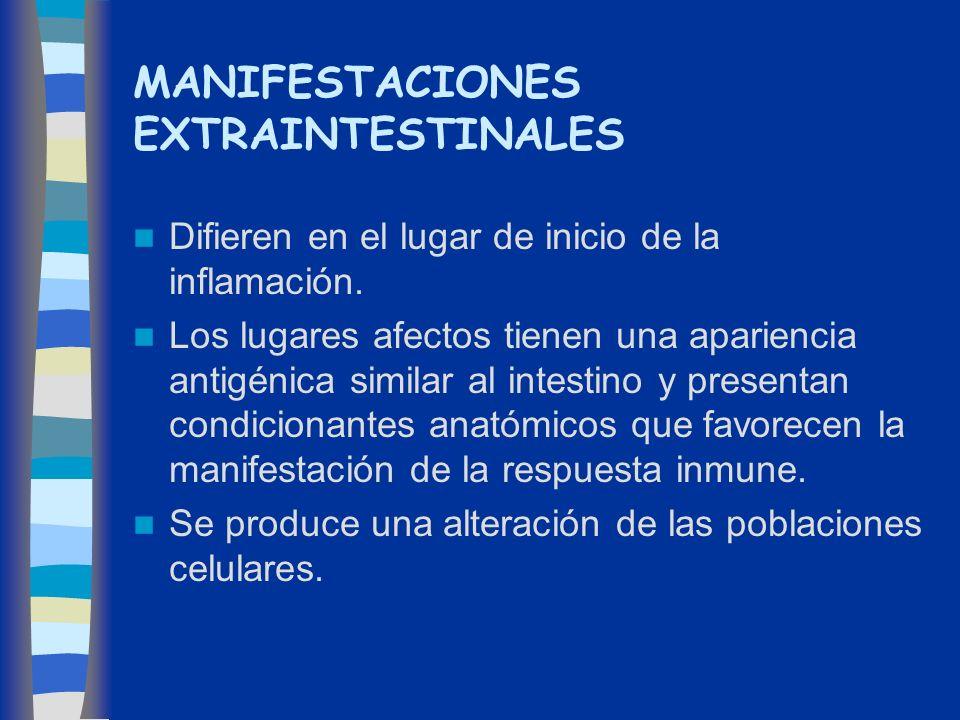 MANIFESTACIONES EXTRAINTESTINALES Difieren en el lugar de inicio de la inflamación. Los lugares afectos tienen una apariencia antigénica similar al in