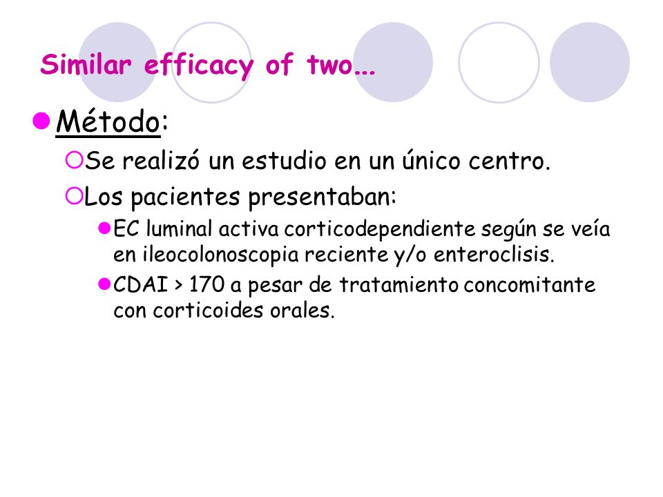 Similar efficacy of two … Método: Se realizó un estudio en un único centro. Los pacientes presentaban: EC luminal activa corticodependiente según se v