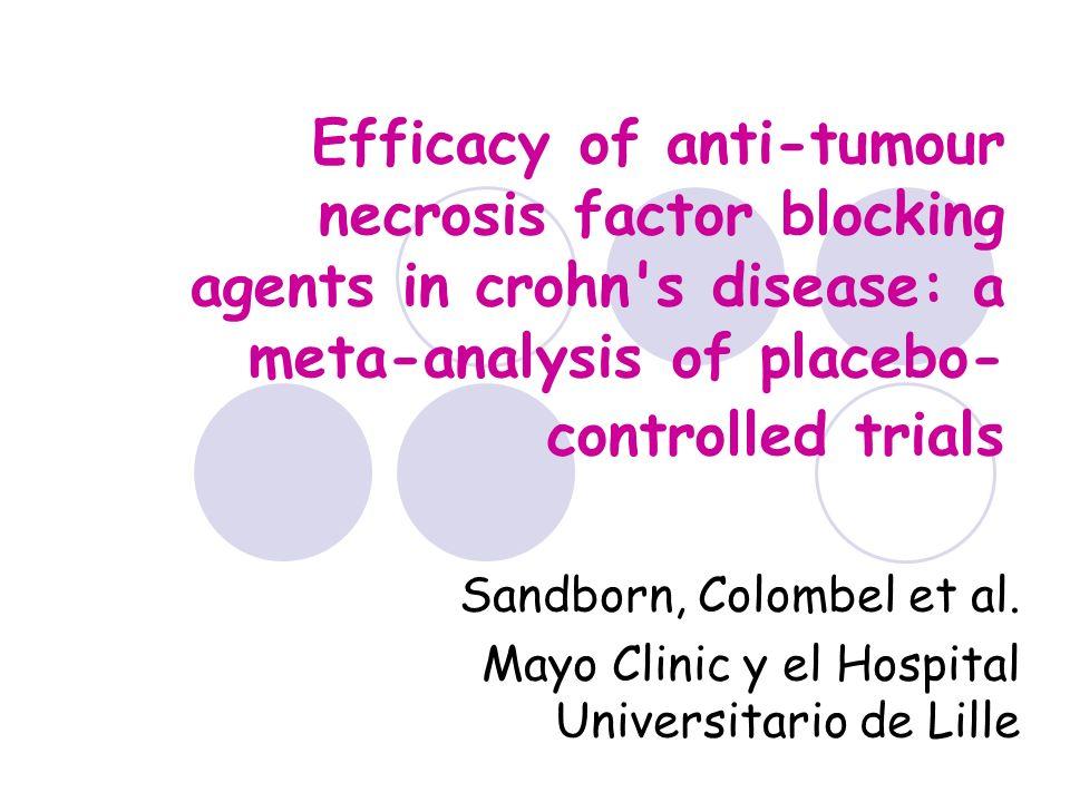 Efficacy of anti-tumour… Base del estudio: Se han utilizado seis fármacos anti-TNF en el tratamiento de la EC, con diferentes resultados.
