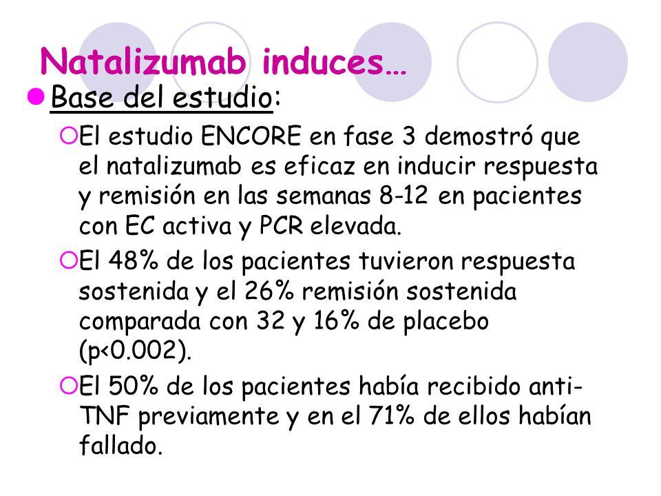 Natalizumab induces… Base del estudio: El estudio ENCORE en fase 3 demostró que el natalizumab es eficaz en inducir respuesta y remisión en las semana