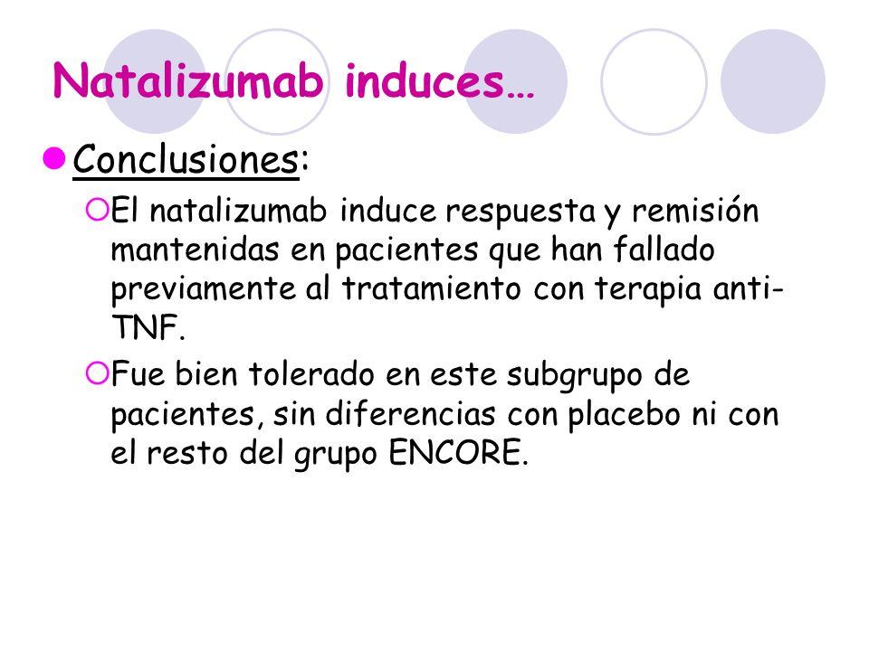 Natalizumab induces… Conclusiones: El natalizumab induce respuesta y remisión mantenidas en pacientes que han fallado previamente al tratamiento con t