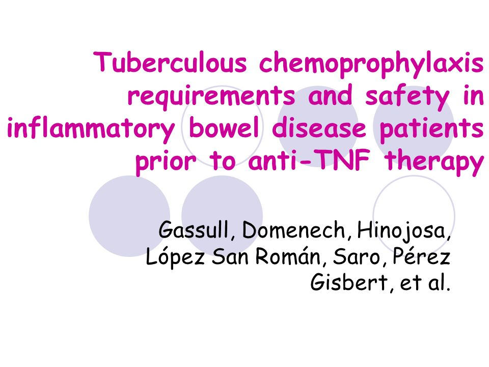 Tuberculous chemoprophylaxis requirements and safety in inflammatory bowel disease patients prior to anti-TNF therapy Gassull, Domenech, Hinojosa, Lóp