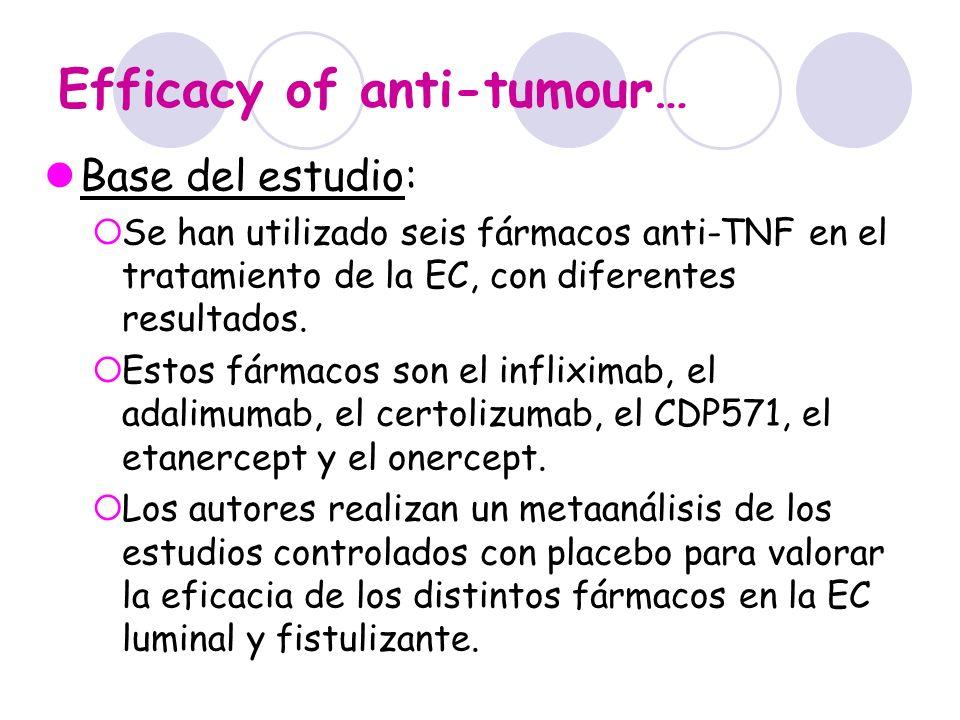 Efficacy of anti-tumour… Base del estudio: Se han utilizado seis fármacos anti-TNF en el tratamiento de la EC, con diferentes resultados. Estos fármac