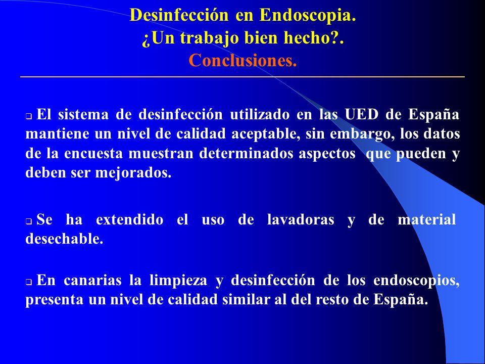Desinfección en Endoscopia. ¿Un trabajo bien hecho?. Conclusiones. El sistema de desinfección utilizado en las UED de España mantiene un nivel de cali