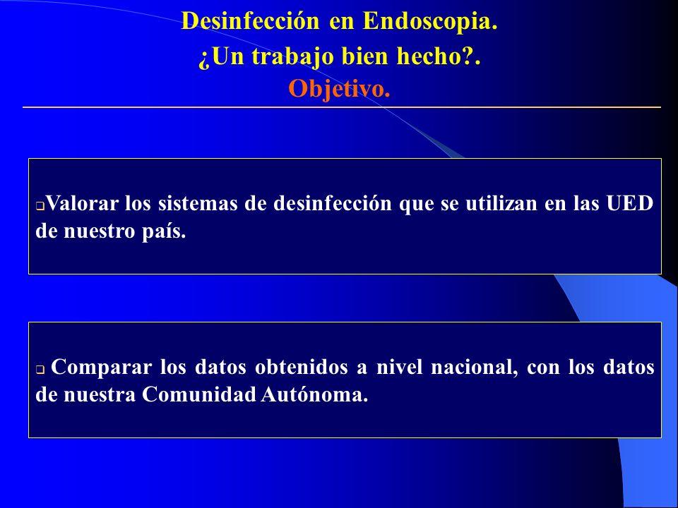 Valorar los sistemas de desinfección que se utilizan en las UED de nuestro país. Comparar los datos obtenidos a nivel nacional, con los datos de nuest