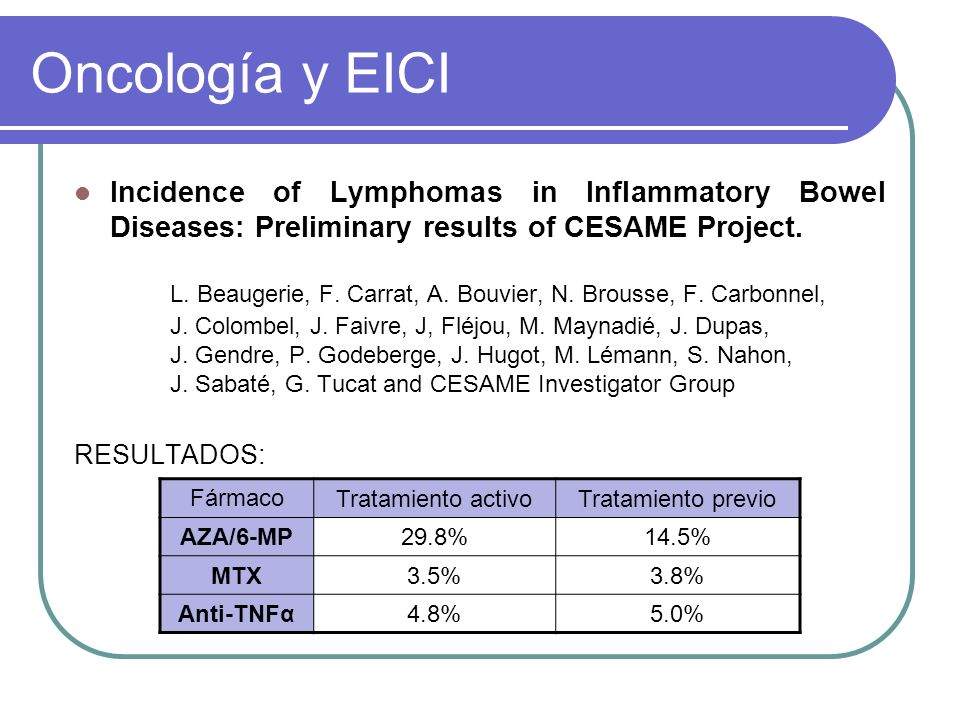 Oncología y EICI Incidence of Lymphomas in Inflammatory Bowel Diseases: Preliminary results of CESAME Project.