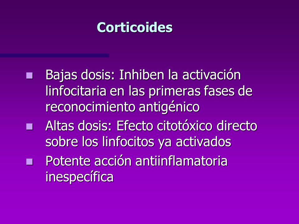 Corticoides Bajas dosis: Inhiben la activación linfocitaria en las primeras fases de reconocimiento antigénico Bajas dosis: Inhiben la activación linf