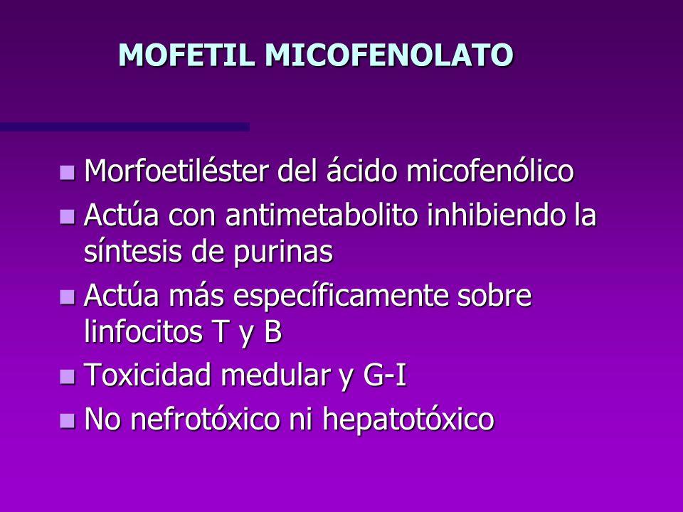 MOFETIL MICOFENOLATO Morfoetiléster del ácido micofenólico Morfoetiléster del ácido micofenólico Actúa con antimetabolito inhibiendo la síntesis de pu