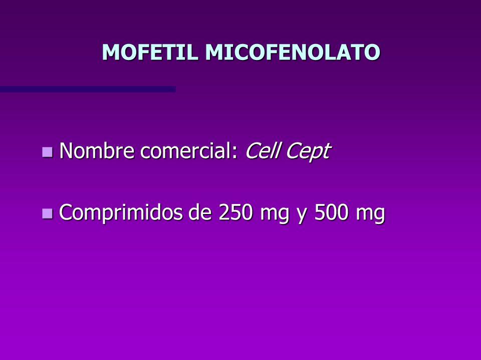 Nombre comercial: Cell Cept Nombre comercial: Cell Cept Comprimidos de 250 mg y 500 mg Comprimidos de 250 mg y 500 mg MOFETIL MICOFENOLATO