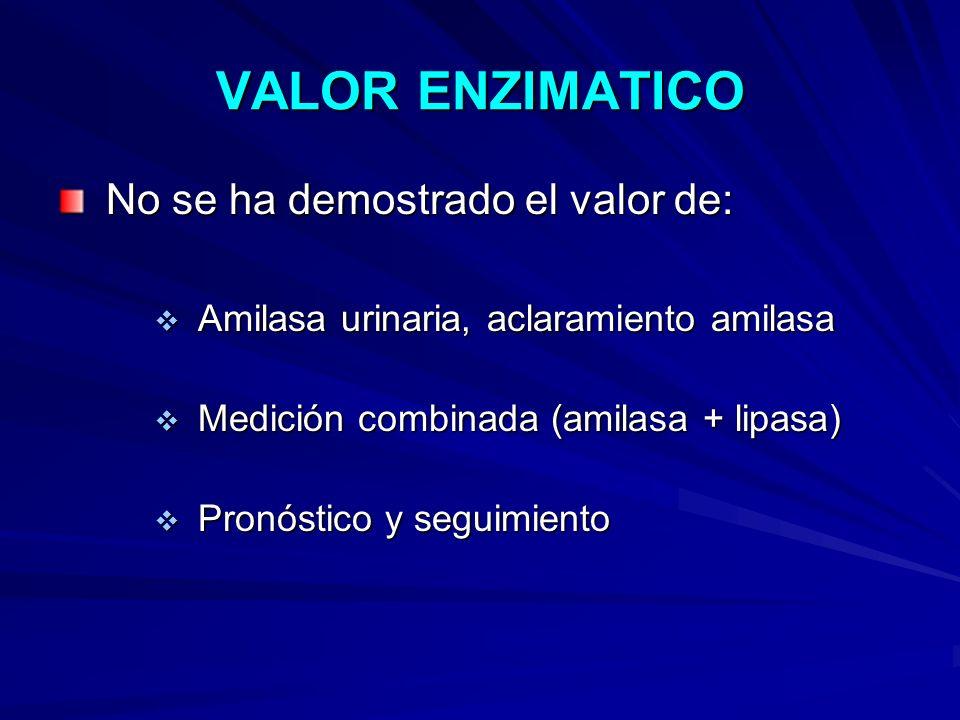 VALOR ENZIMATICO No se ha demostrado el valor de: No se ha demostrado el valor de: Amilasa urinaria, aclaramiento amilasa Amilasa urinaria, aclaramien
