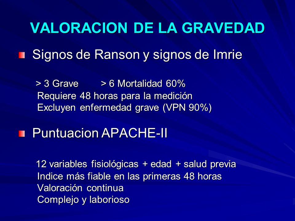 VALORACION DE LA GRAVEDAD Signos de Ranson y signos de Imrie Signos de Ranson y signos de Imrie > 3 Grave > 6 Mortalidad 60% > 3 Grave > 6 Mortalidad