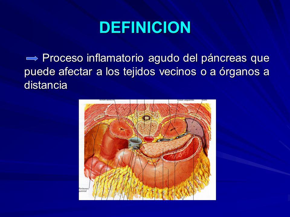 DEFINICION Proceso inflamatorio agudo del páncreas que puede afectar a los tejidos vecinos o a órganos a distancia