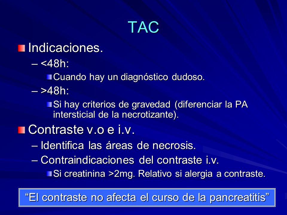 TAC Indicaciones. –<48h: Cuando hay un diagnóstico dudoso. –>48h: Si hay criterios de gravedad (diferenciar la PA intersticial de la necrotizante). Co