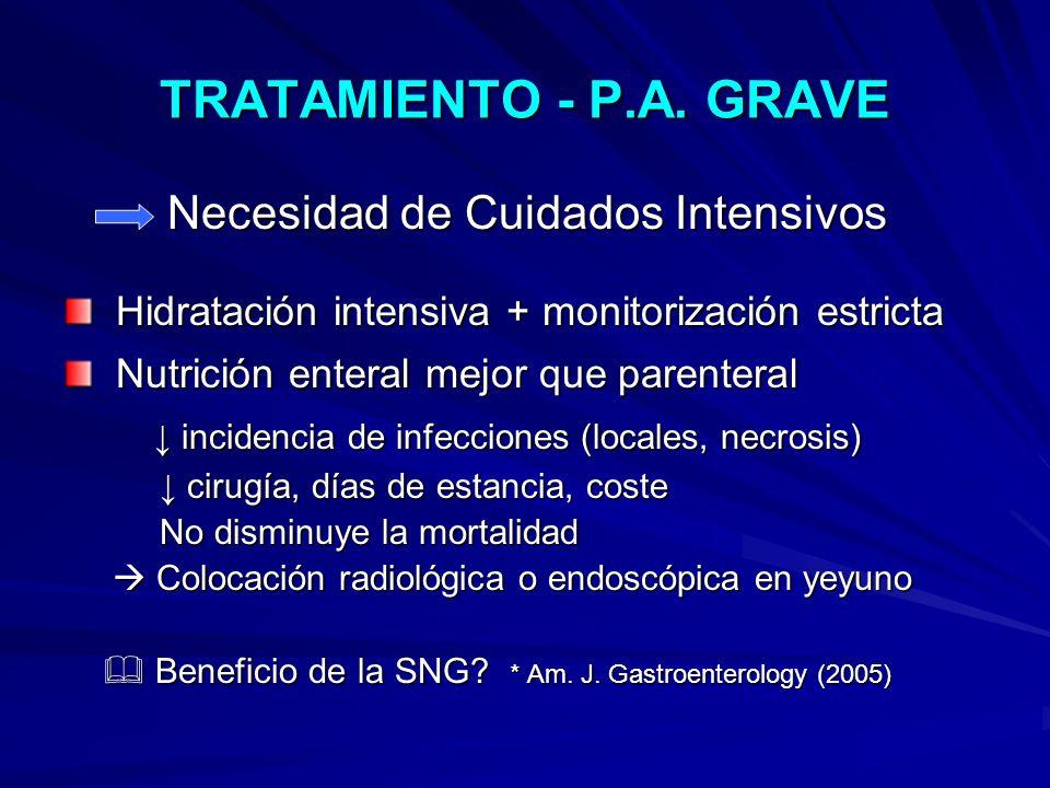 TRATAMIENTO - P.A. GRAVE Necesidad de Cuidados Intensivos Necesidad de Cuidados Intensivos Hidratación intensiva + monitorización estricta Hidratación