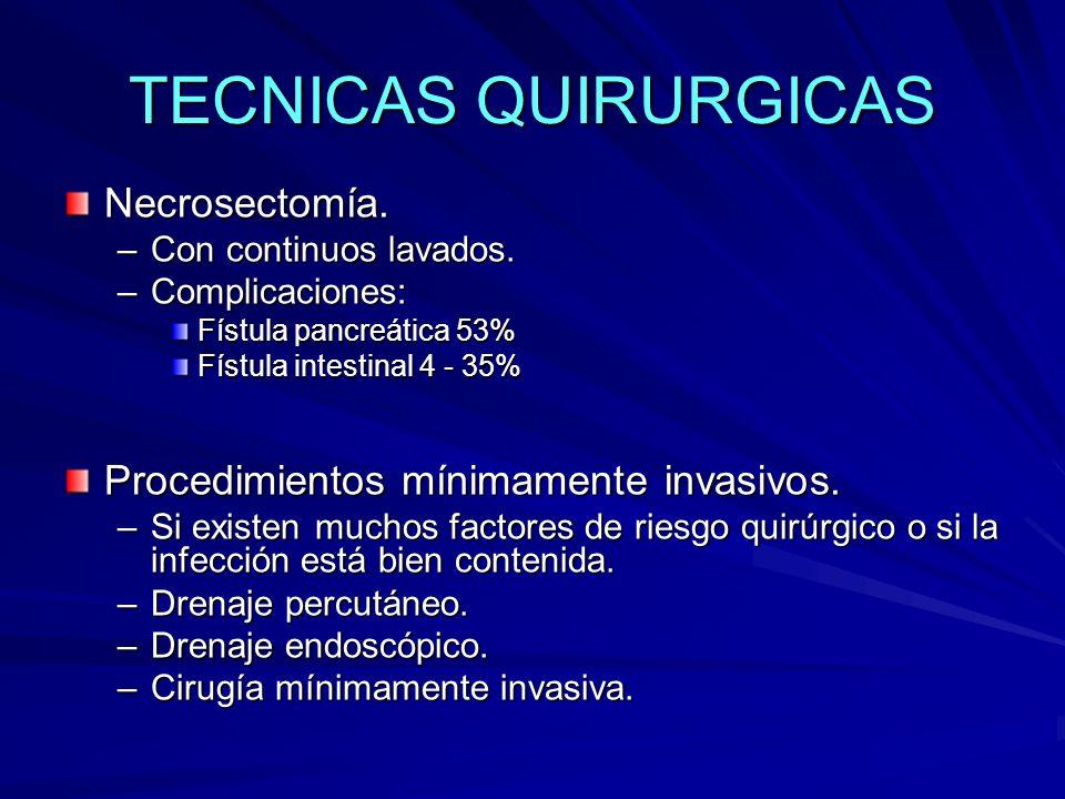 TECNICAS QUIRURGICAS Necrosectomía. –Con continuos lavados. –Complicaciones: Fístula pancreática 53% Fístula intestinal 4 - 35% Procedimientos mínimam