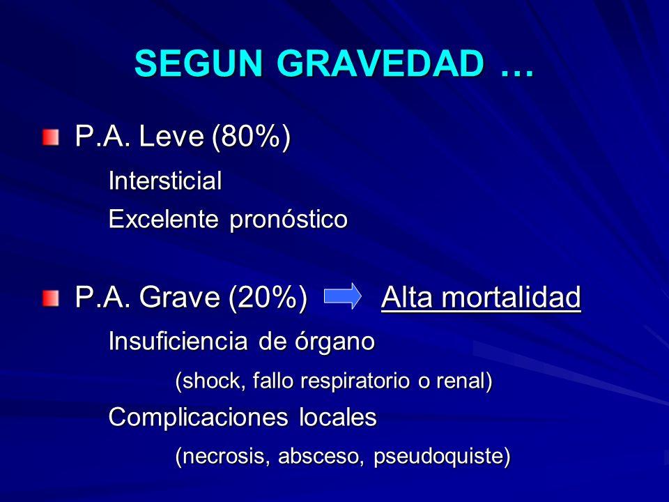 SEGUN GRAVEDAD … P.A. Leve (80%) P.A. Leve (80%)Intersticial Excelente pronóstico P.A. Grave (20%) Alta mortalidad P.A. Grave (20%) Alta mortalidad In
