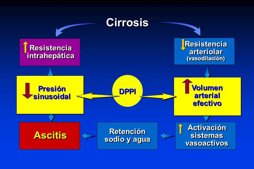 Volumen arterial efectivo Presión sinusoidal Activación sistemas vasoactivos Cirrosis Resistencia intrahepática Resistencia arteriolar (vasodilación)