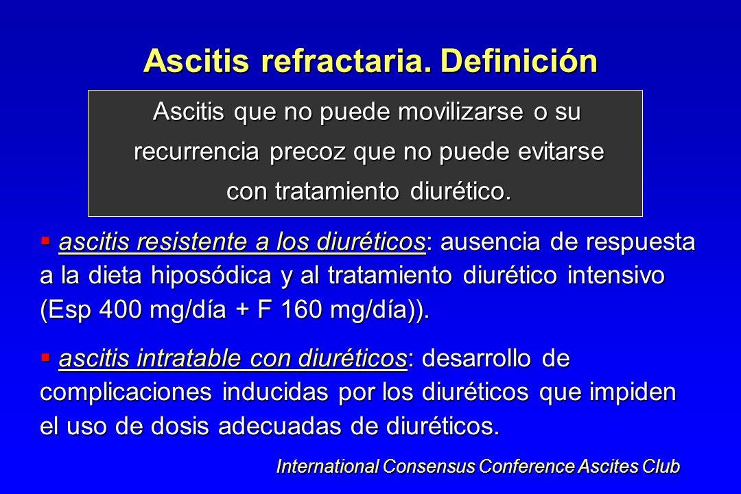 Ascitis refractaria. Definición Ascitis que no puede movilizarse o su recurrencia precoz que no puede evitarse con tratamiento diurético. Ascitis que