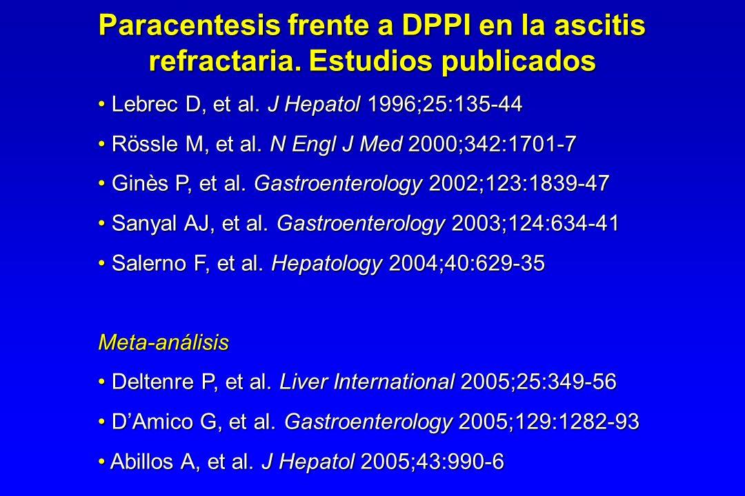 Paracentesis frente a DPPI en la ascitis refractaria. Estudios publicados Lebrec D, et al. J Hepatol 1996;25:135-44 Lebrec D, et al. J Hepatol 1996;25