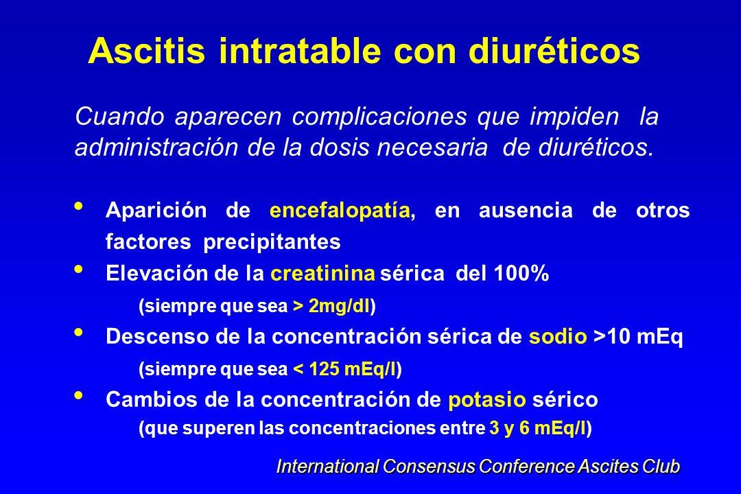 Cuando aparecen complicaciones que impiden la administración de la dosis necesaria de diuréticos. Ascitis intratable con diuréticos Aparición de encef