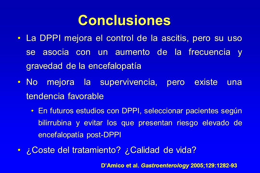 Conclusiones La DPPI mejora el control de la ascitis, pero su uso se asocia con un aumento de la frecuencia y gravedad de la encefalopatíaLa DPPI mejo