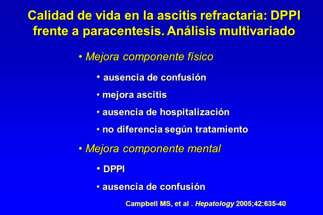 Calidad de vida en la ascitis refractaria: DPPI frente a paracentesis. Análisis multivariado Mejora componente físico Mejora componente físico ausenci