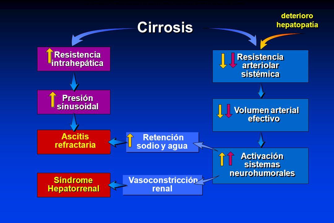 Resistencia arteriolar sistémica Resistencia intrahepática Presión sinusoidal Ascitis Volumen arterial efectivo Activación sistemas neurohumorales Cir
