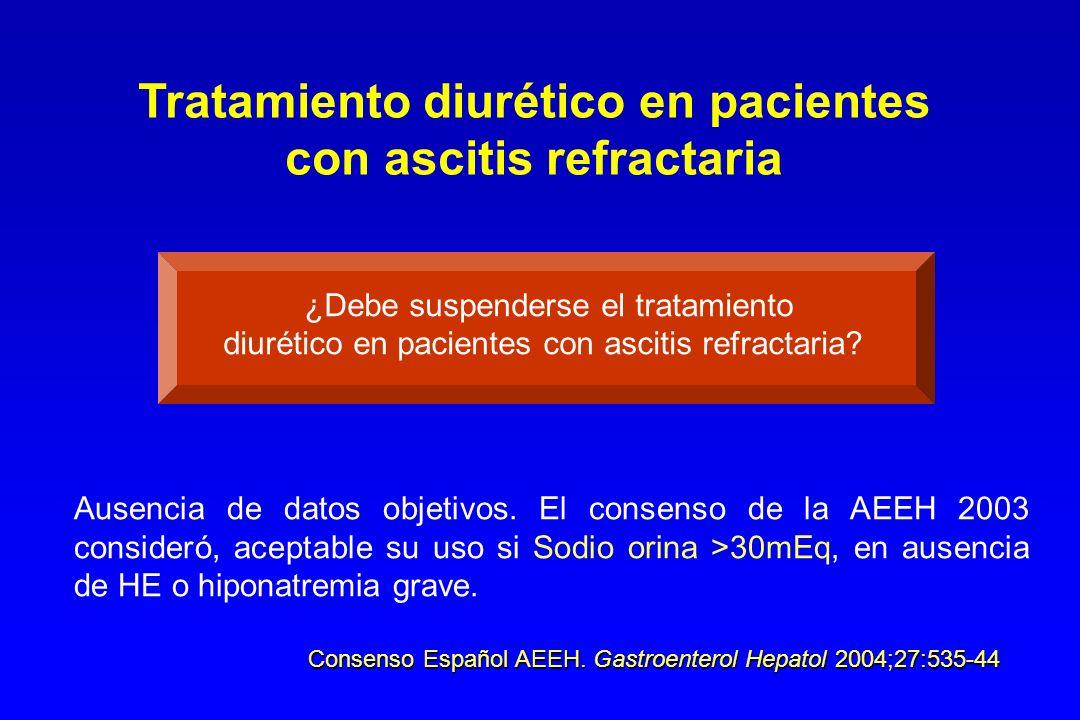 Paracentesis total más albúmina ( 8 g/L) Dieta hiposódica (<80mEq/día) Tratamiento diurético si sodio urinario > 30mEq/día Recidiva de la ascitis Paracentesis repetidas más albúmina TIPS Indicaciones Recidiva muy frecuente Ascitis tabicada Contraindicaciones Child Pugh >13 Encefalopatía crónica Falta de respuesta a : Esp 400mg/día + Fur 160 mg/día o complicaciones con dosis menores Consenso Español AEEH.