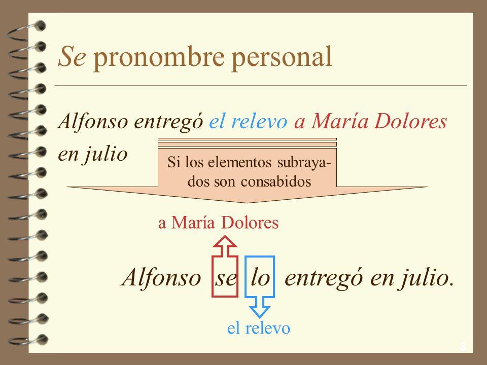 3 Se pronombre personal Alfonso se lo entregó en julio.