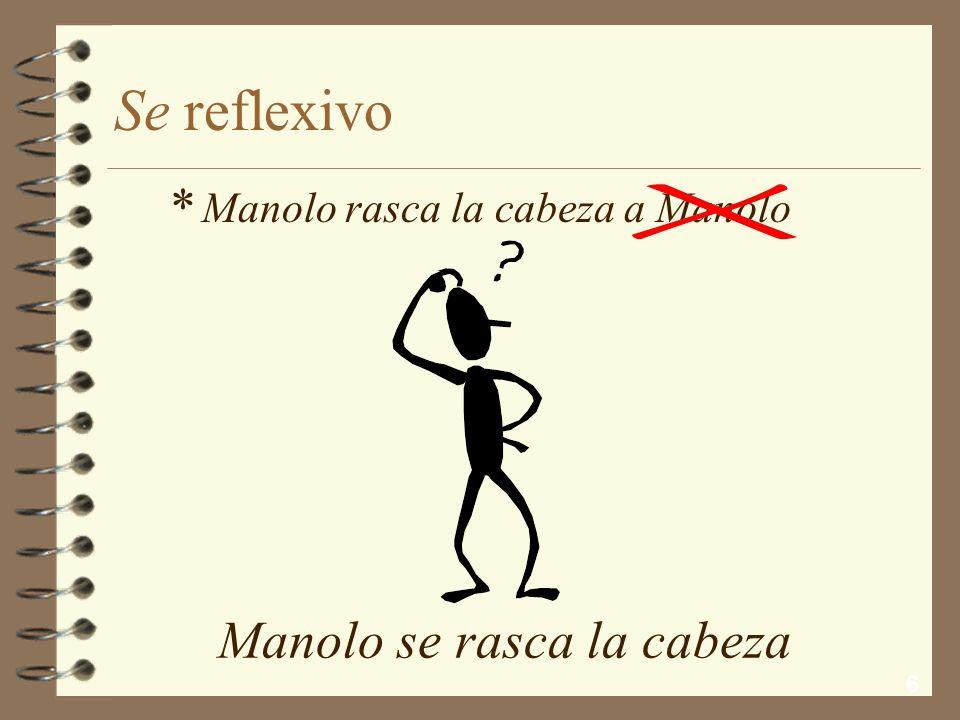 6 Se reflexivo Manolo se rasca la cabeza Manolo rasca la cabeza a Manolo *