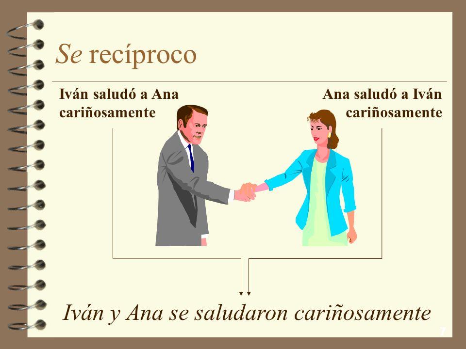 7 Se recíproco Iván y Ana se saludaron cariñosamente Iván saludó a Ana cariñosamente Ana saludó a Iván cariñosamente