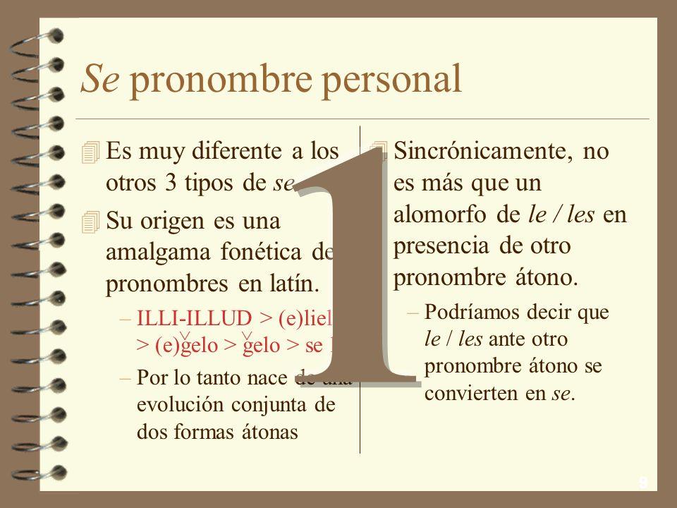9 Se pronombre personal 4 Sincrónicamente, no es más que un alomorfo de le / les en presencia de otro pronombre átono.